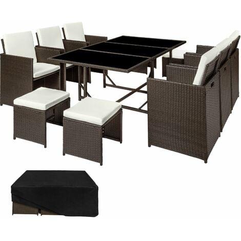 Rattan garden furniture set Malaga 6+4+1 with protective cover - garden tables and chairs, garden furniture set, outdoor table and chairs - antique brown