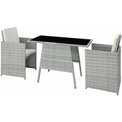 Rattan garden furniture set Lausanne - garden tables and chairs, garden furniture set, outdoor table and chairs - light grey