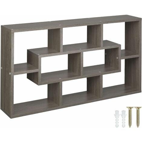 Floating shelf room divider for books and ornaments - bookshelf, bookcase, wall shelves - Sanded oak