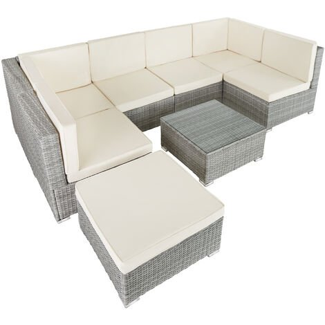 Rattan garden furniture lounge Venice - garden sofa, garden corner sofa, rattan sofa - light grey