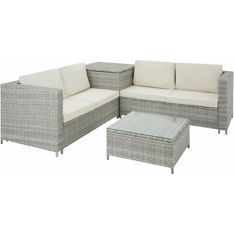 Rattan garden furniture lounge Siena - garden sofa, garden corner sofa, rattan sofa - light grey