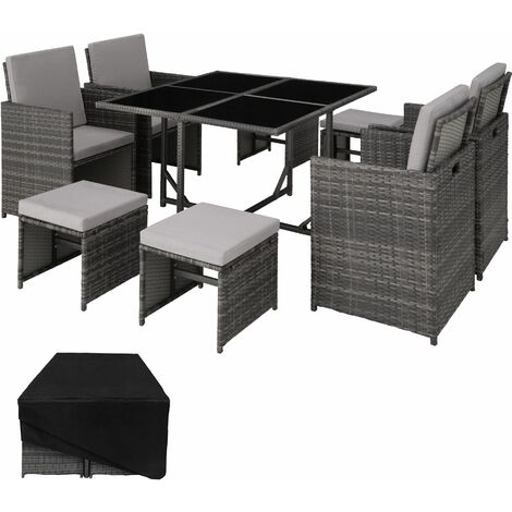 Rattan garden furniture set Bilbao 4+4+1 with protective cover - garden tables and chairs, garden furniture set, outdoor table and chairs - grey