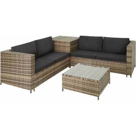 Rattan garden furniture lounge Siena - garden sofa, garden corner sofa, rattan sofa - nature