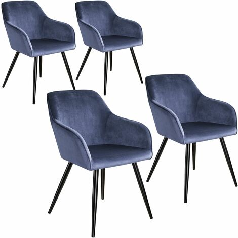 4 Marilyn Velvet-Look Chairs - blue/black
