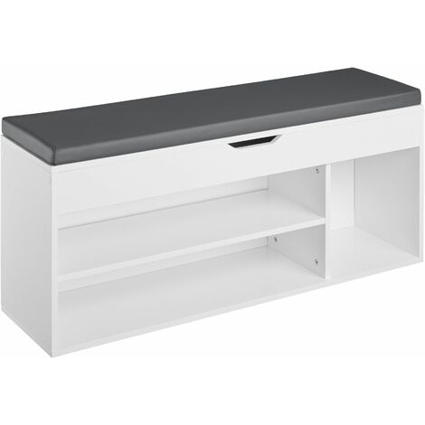 Shoe cabinet Natalya with 4 storage spaces and seat - bench, storage bench, shoe storage cabinet - white