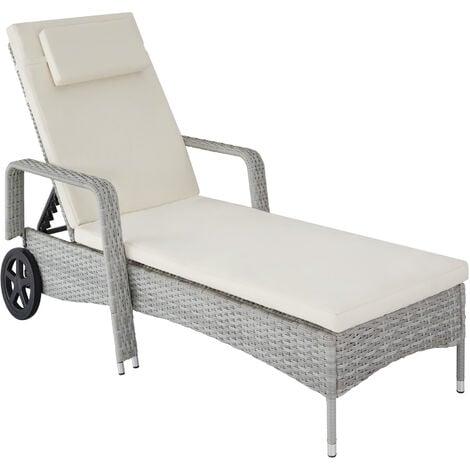 Sun lounger rattan - reclining sun lounger, garden lounge chair, sun chair - light grey