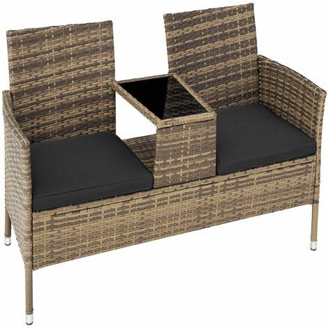 Garden bench with table poly rattan - love seat, patio set, garden set - nature