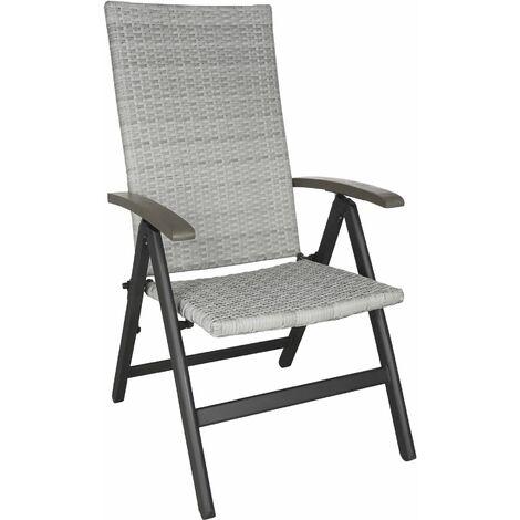 Foldable rattan garden chair Melbourne - outdoor seating, garden seating, rattan chair - light grey