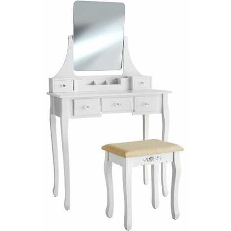 Dressing table Claire with 5 drawers for storage | Includes stool and mirror - dressing table mirror, white dressing table, dressing table chair - white