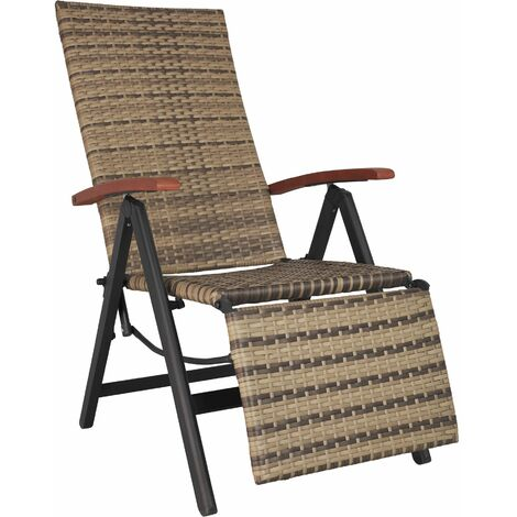 Reclining garden chair with footrest - nature