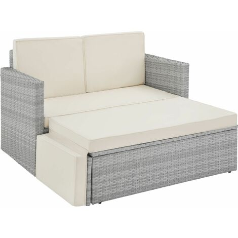Rattan sofa Corfu, variant 2 - garden sofa, outdoor sofa, garden sofa set - light grey