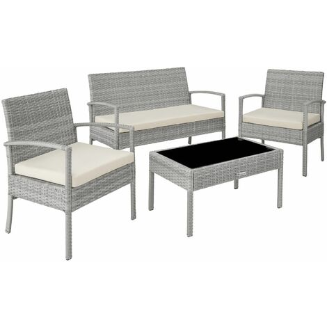 Rattan garden furniture set Sparta 3+1 - garden tables and chairs, garden furniture set, outdoor table and chairs - light grey