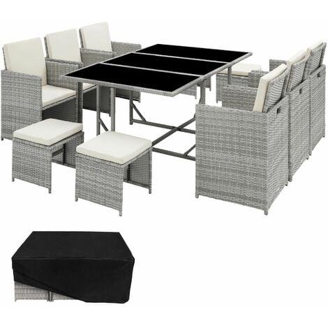 Rattan garden furniture set Malaga 6+4+1 with protective cover - garden tables and chairs, garden furniture set, outdoor table and chairs - light grey