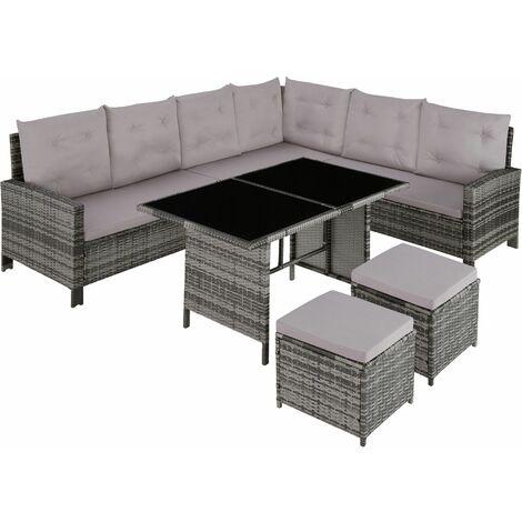 Barletta Rattan Garden Furniture Set, variant 2 - rattan garden furniture set, rattan garden furniture, lounge set - grey
