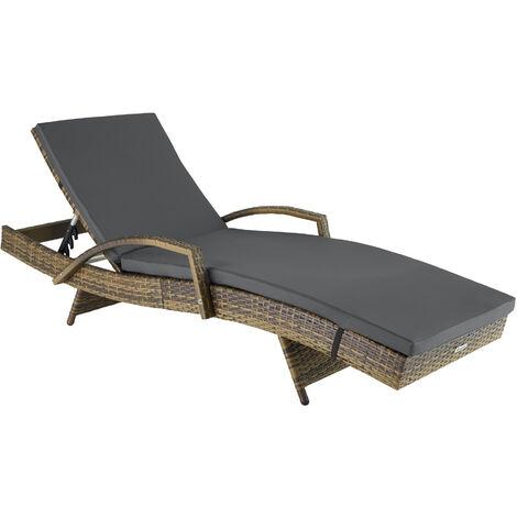 Sun lounger Océane rattan - reclining sun lounger, garden lounge chair, sun chair - nature