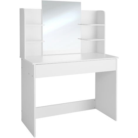 Dressing table Camille with mirror, drawer and storage shelves - dressing table mirror, makeup table, vanity table - white