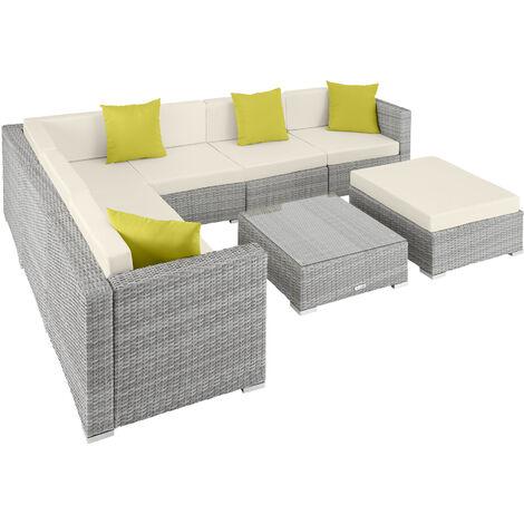 Rattan garden furniture lounge Marbella - garden sofa, garden corner sofa, rattan sofa - light grey
