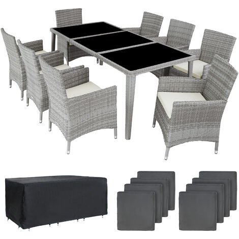 Rattan garden furniture set Monaco aluminium with protective cover - garden tables and chairs, garden furniture set, outdoor table and chairs - light grey
