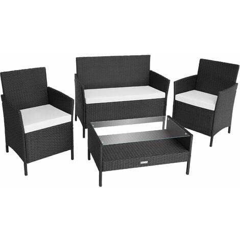 Rattan garden furniture Set Madeira - garden tables and chairs, garden furniture set, outdoor table and chairs - black