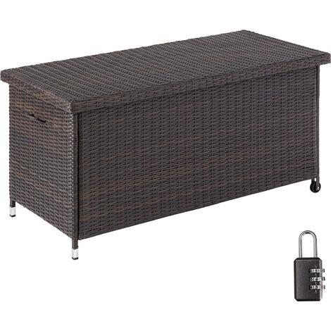 Garden storage box Kiruna - Outdoor furniture cushion storage 121x56x60cm, 270l - outdoor storage box, bench garden storage, outside storage box - brown