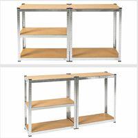 Heavy duty garage shelving made of sheet steel - metal shelving, garage storage, shed shelving - 70 kg - brown