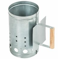BBQ firestarter with heat shield - charcoal firestarter, bbq firestarter, bbq chimney - silver