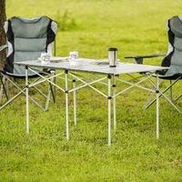 Camping table aluminium 140x70x70cm foldable - folding table, folding camping table, folding picnic table - grey