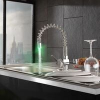 Faucet with LED lighting - faucet tap, kitchen tap, kitchen mixer tap - silver