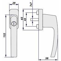 4 window handles lockable - window locks, lever handle, metal window handle - silver