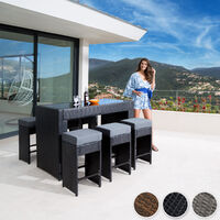 Rattan garden furniture bar set Capri with protective cover - garden tables and chairs, garden furniture set, outdoor table and chairs - black