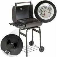 BBQ made of powder-coated metal - charcoal grill, barbecue, charcoal bbq - black