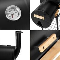 BBQ with temperature display - charcoal grill, barbecue, charcoal bbq - black