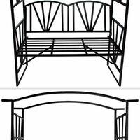 Garden arch with bench - garden arbor, metal garden arch, rose arch - black