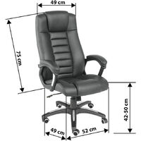 Luxury office chair made of black artificial leather - desk chair, computer chair, ergonomic chair - black