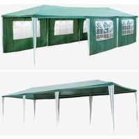 Gazebo 9x3m with 8 side panels - garden gazebo, gazebo with sides, camping gazebo - green