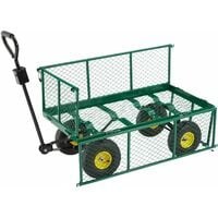 Garden trolley with inner lining max. 550kg - garden cart, beach trolley, trolley cart - green