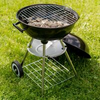 BBQ kettle grill Ø 41.5 cm galvanized with wheels - charcoal grill, barbecue, charcoal bbq - brown