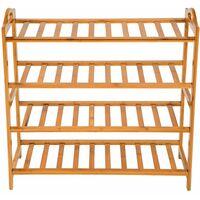 Shoe rack bamboo 4 shelves - shoe shelf, wooden shoe rack, shoe organiser - brown