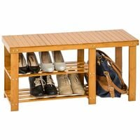 Shoe rack bamboo with bench and separate compartment - shoe bench, shoe shelf, wooden shoe rack - brown