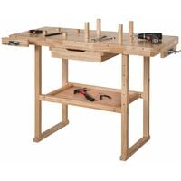 Workbench with vices model 1 wooden - woodworking bench, garage workbench, workbench vice - brown