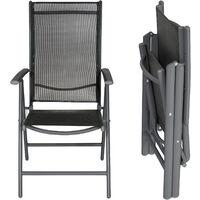 2 aluminium garden chairs - reclining garden chairs, garden recliners, outdoor chairs - black/anthracite