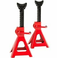 Axle stands x2 3000 kg load - trestle legs, jack stands, bench legs - red