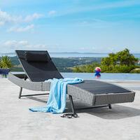 Sun lounger Delphine rattan - reclining sun lounger, garden lounge chair, sun chair - brown