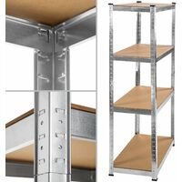 Garage shelving unit 4 tier - metal shelving, garage storage, shed shelving - brown