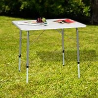 Height-adjustable camping table 80x60x68cm - folding table, trestle table, folding camping table - grey