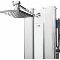 Shower panel with 10 massage jets, aluminium - shower tower, shower column, shower wall panel - silver