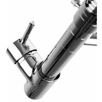 Kitchen mixer tap with 2 taps & detachable spray - faucet tap, kitchen tap, kitchen mixer tap - grey