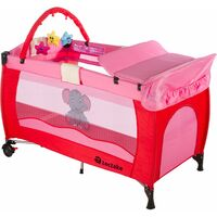 Travel cot elephant with changing mat and play bar - cot bed, baby travel cot, pop up travel cot - pink
