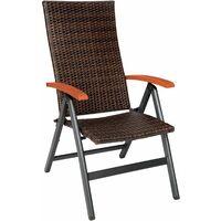 Foldable rattan garden chair Melbourne - outdoor seating, garden seating, rattan chair - brown