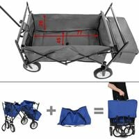 Garden trolley with roof foldable incl. carry bag - garden cart, beach trolley, trolley cart - blue